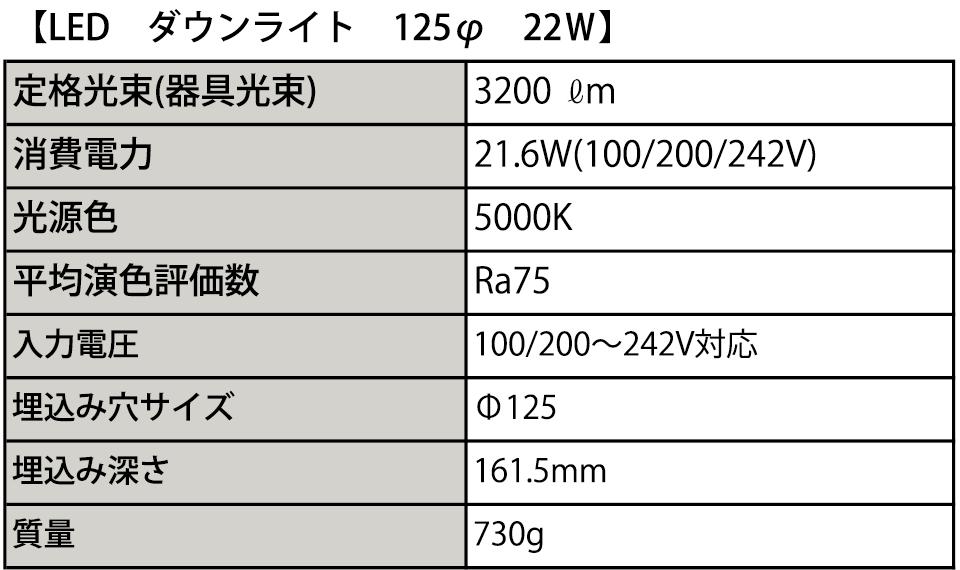 125Φ LEDダウンライト仕様