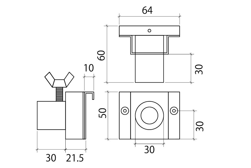 取付用金具(オクタ・木工パネル用)補足図