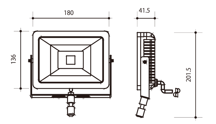 LEDスポット30W補足図